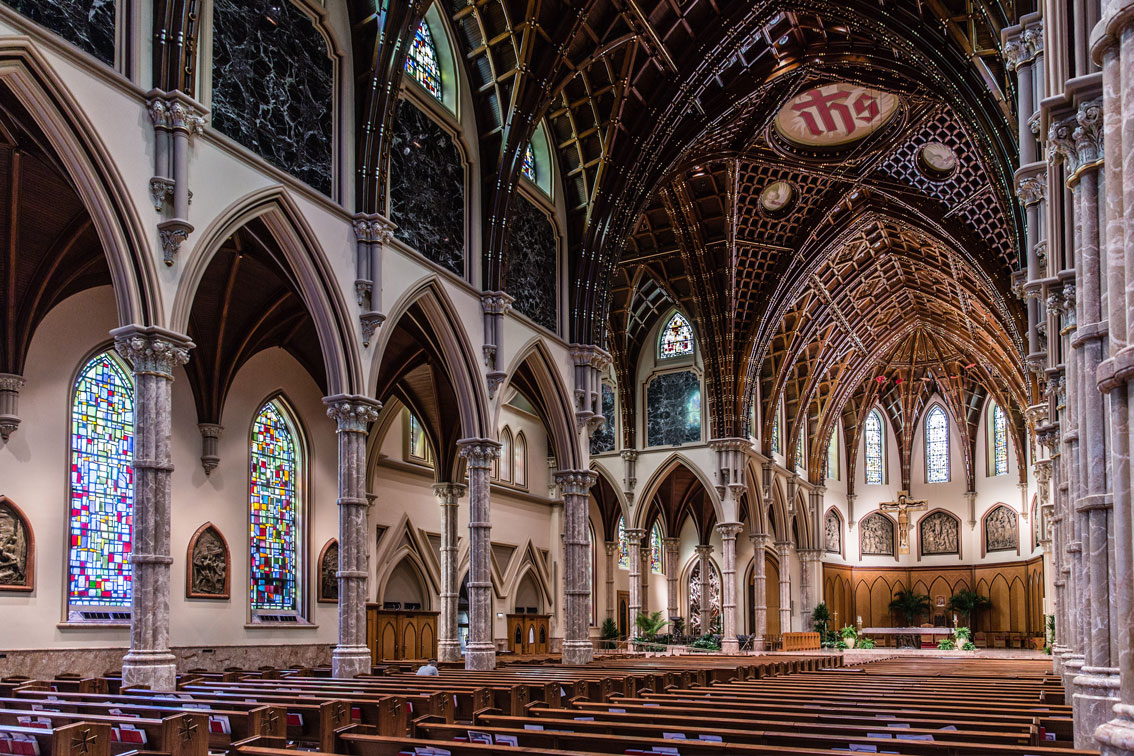 Sanctuary archives holy name cathedral parish holy name for Gothic revival interior