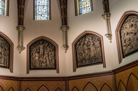 Sanctuary Panels, five bronze panels representing the Holy Name of Jesus